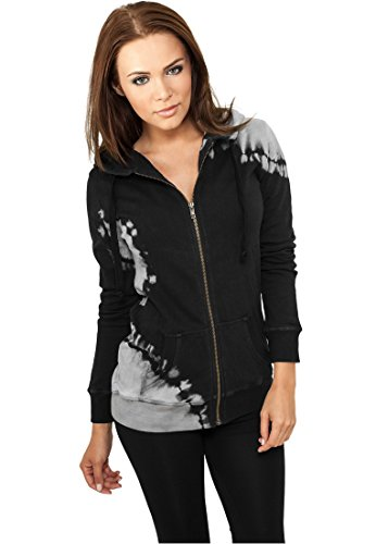 Urban Classics Ladies Acid Wash Zip Hoody Felpa jogging donna nero/grigio S