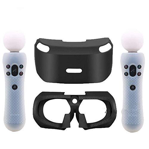 Coque de Protection en Silicone 3D pour Casque PSVR PS VR + 2 pièces Coque de Protection en Silicone pour Sony PS VR Move Motion Controller (Blanc/Blanc)