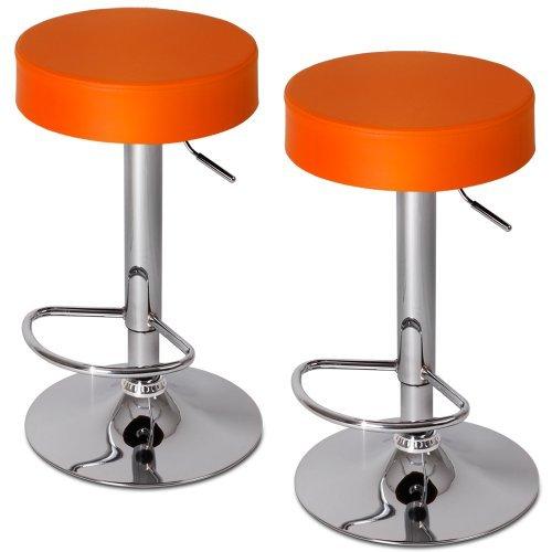 Miadomodo–lbhk06orange-2er–Set di 2sgabelli da Bar Regolabili in Altezza e Girevole–Arancione–Diversi Colori a Scelta
