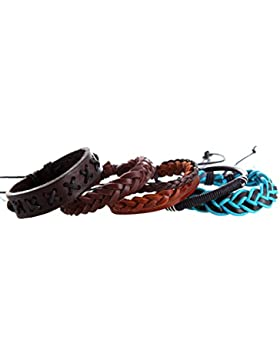 DonDon® geflochtenes Lederarmband Set bestehend aus 5 Armbändern