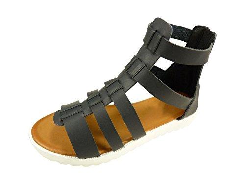 Sandales spartiates femme à plateforme, plateau Noir