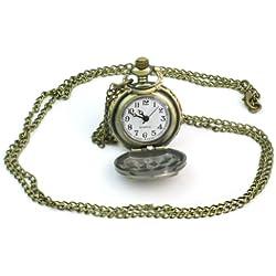Bronze Mini owl Lady Women Pocket watch Quartz Chain