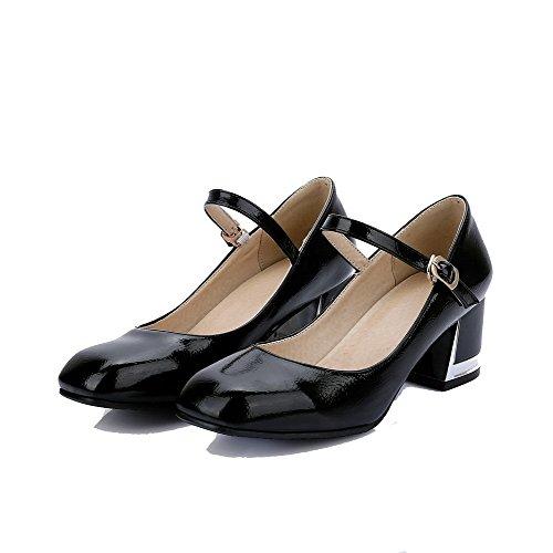 AgooLar Femme Boucle Carré à Talon Correct Pu Cuir Couleur Unie Chaussures Légeres Noir