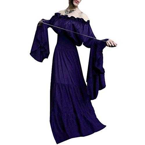 Damen Mittelalter Langarm Kleid - Retro Renaissance Viktorianisch Kostüm Langes Kleider mit Ausgestellte Ärmel für Halloween Party Cosplay ()