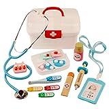 Foxom Arztkoffer Kinder Holz, 16 Stück Kinder Arztkoffer Holz Doktorkoffer Spielzeug Doktor Spielset Rollenspiel Lernspielzeug für Kinder ab 3 Jahre