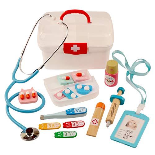YAKOK 16er Holz Arztkoffer Kinder, Arztkoffer Holz Spielzeug Arzt Spielzeug mit Stethoskop Kinderarztkoffer für Kinder Kleinkind Junge Mädchen ab 2-6 Jahre (Rot)