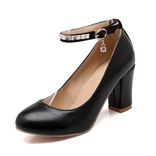 VogueZone009 Femme Rond à Talon Haut Fermeture D'Orteil Boucle Pu Cuir Couleur Unie Chaussures Légeres Noir