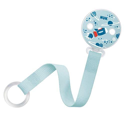 NUK Schnullerkette, für alle Schnuller mit und ohne Ring, 1 Stück, rakete/blau (Junge) - Blaue Stück Stoff