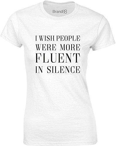 Brand88 - Fluent in Silence, Mesdames T-shirt imprimé Blanc/Noir