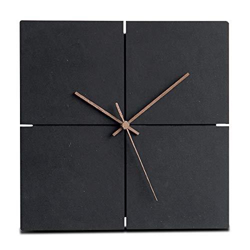 Moderne Wanduhr schwarz MDF nahezu geräuschlos Walnuss Holz Zeiger viereckig Ø 29 cm Wall-Art