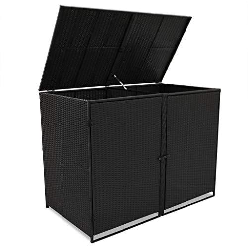 *Festnight Mülltonnenbox Müllboxen Mülltonnenverkleidung PE-Rattan 148 x 80 x 111 cm für 2 Tonnen Schwarz*