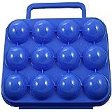Ocamo Plastic Egg Box Outdoor Picnic Blue Box Shock-Absorbing Portable 12 Eggs Case