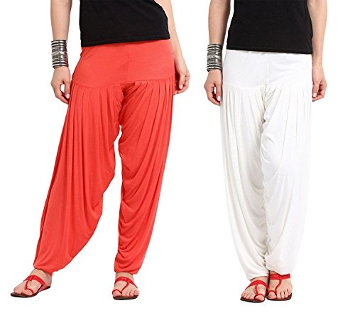 Whynot Women's Viscose Red And White 2 Pcs Combo Colors Patiala Pants
