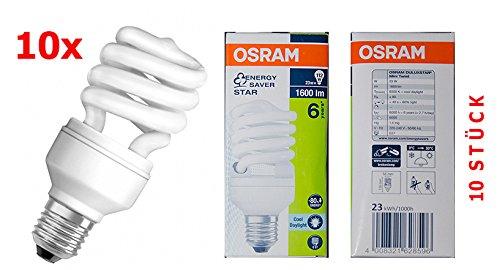 10 STÜCK OSRAM DULUXSTAR Mini Twist Energiesparlampen, - 6500K, Cool Daylight/ E27 23W -
