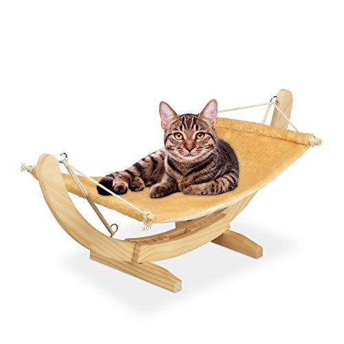 Relaxdays Katzenhängematte, kuschelige Hängematte für Katzen, Katzenliege mit Holzgestell, HBT: 28, 5 x 35 x 67 cm, beige, Einheitsgröße