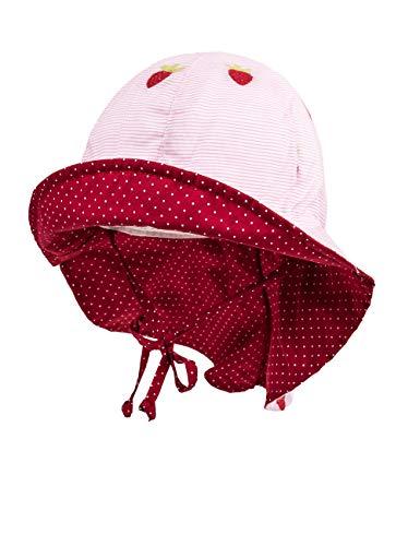 maximo Baby-Mädchen Flapper, Nackenschutz Mütze, Rosa (Zartrosa-Rot-Erdbeeren/Richel. 2506), 47 - Mütze Rote Baby