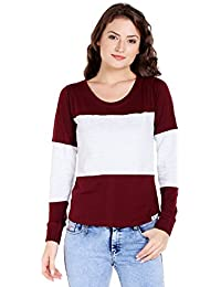 99b634a35a8362 The Dry State Women s Cotton Burgundy Multi Panel Full Sleeves Tshirt