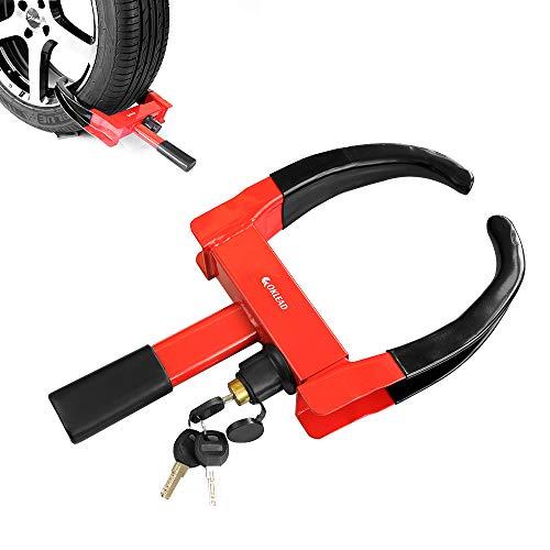 Sabot de sécurité pour roue - Antivol pour pneus, coffres pour VTT, bateaux, remorques, motos, 2 clés rouge/noir