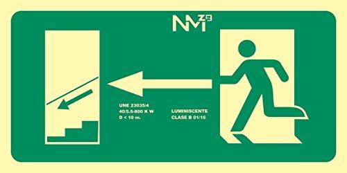 Normaluz RD11141 - Señal Luminiscente Salida Escalera Izquierda Abajo Clase B PVC 0,7mm 32x16cm con CTE, RIPCI y Apto para la Nueva Legislación