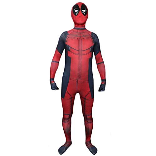 Elasthan Kostüm Deadpool - Wangxyan Männer Deadpool Kostüm Cosplay Overall Erwachsene Halloween Bühnen Leistung Onesie Unisex Birthday Party Outfit Geschenk für Freunde,Rot,XS
