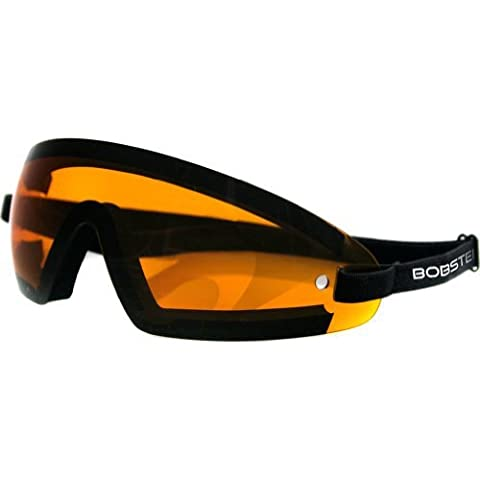 Bobster Wrap Around Adult Cruiser Motorcycle Goggles Eyewear - Black/Amber / One Size Fits All by Bobster Eyewear