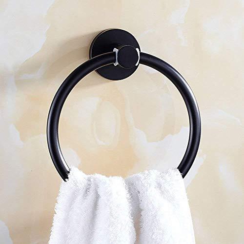 YUH Europäischen Badezimmer Wand Handtuchring, Edelstahl Hardware Anhänger Rost, Home Hotel Badezimmer Handtuch Ring, schwarz,Schwarz -
