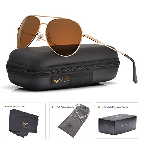 643058137a71a LUENX Hombre   Mujer Gafas de sol Aviador polarizado con estuche - UV 400  protección Marrón