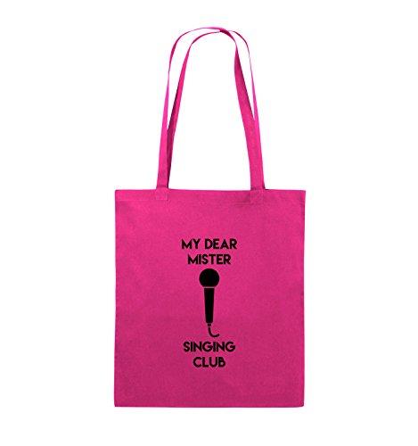 Comedy Bags - MY DEAR MISTER SINGING CLUB - Jutebeutel - lange Henkel - 38x42cm - Farbe: Schwarz / Pink Pink / Schwarz