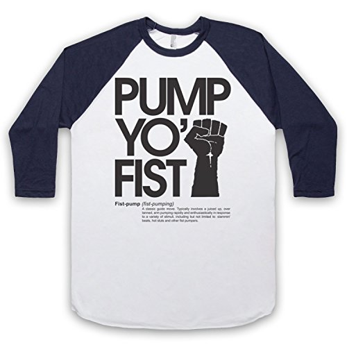 Pump Yo Fist Slogan 3/4 Hulse Retro Baseball T-Shirt Weis & Ultramarinblau