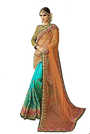 MySpace Women's Net Georgette Embroidered Heavy Work Saree with Blouse Piece (65018, Yellow, Free Size)