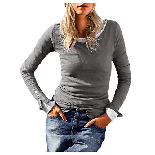 TEFIIR Damen Rundhals Schnür Manschette Geknöpfte Sweater Pullover Casual Langarm Sweatshirt Einfarbiger Srtickpullover Winter Warm Tops Outwear