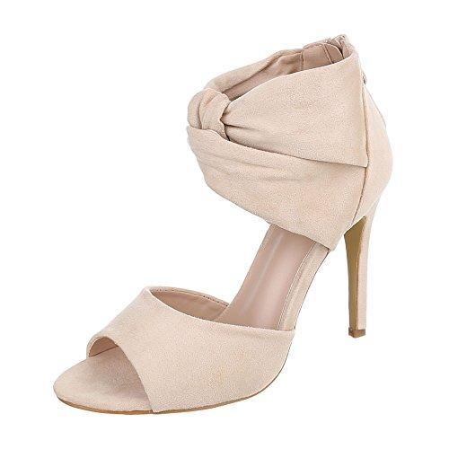 Ital-Design High Heel Sandaletten Damenschuhe Plateau Pfennig-/Stilettoabsatz High Heels Reißverschluss Sandalen/Sandaletten Beige