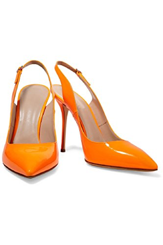 Kolnoo Femmes Chaussures en cuir verni à la main Slingback Pointy High Heel Fashion Party Prom Pumps Orange