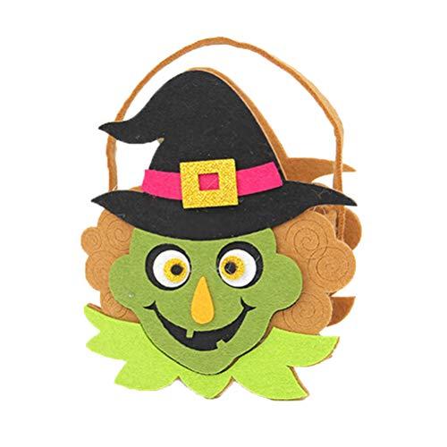 Amosfun Cartoon Candy Bag Tote Geschenktasche Hexe Druck Süßigkeiten Beutel für Halloween Dekoration
