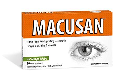 Macusan® 30 Tabletten Erhalten die Sehkraft - mit Ginkgo Zeaxanthin Lutein für Augen Nahrungsergänzung gegen Altersbedingte-Makuladegeneration AMD