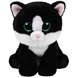 TY - Beanie Babies Ava, gato, 15 cm, color blanco / negro (United Labels Ibérica 42185TY)