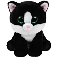 TY - Beanie Babies Ava, peluche gato, 15 cm, color blanco / negro