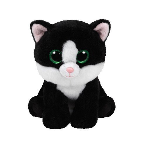 Ty Beanie Babies AVA, Peluche Gato, 15 cm, Color Blanco / Negro (United Labels Ibérica 42185TY)