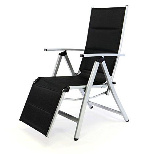 Nexos Deluxe Alu Liegestuhl Klappstuhl mit Fußstütze Sonnenliege Campingliege Gartenliege verstellbar -