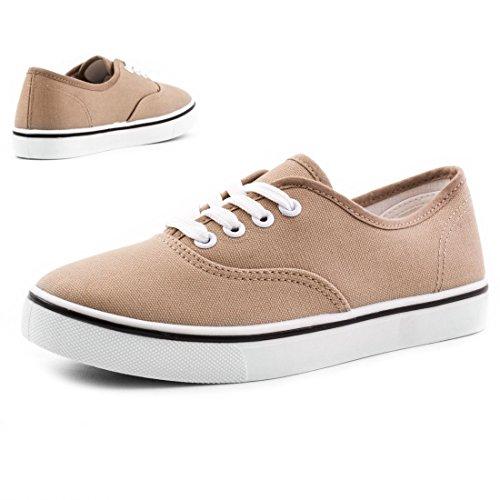 Trendige Low Top Damen Schnür Sneaker Schuhe in Textil Modell 4: Khaki