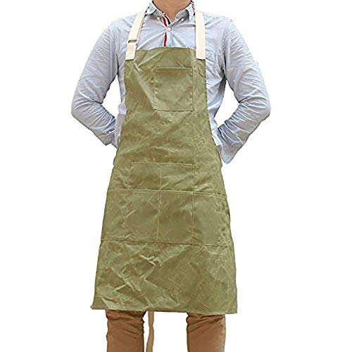 QEES Unisexe Tablier de travail avec fonction de étanche, souple et ventilé Convient pour cuisine, jardin, poterie, artisanat, Atelier, garage, plusieurs poches pour mettre des outils
