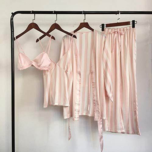 WOOAI 4 Stück Striped Sexy Frauen Pyjama stellt Nachtkleid + Bra + Robe + Pant Female Pyjamas, Rosa, M