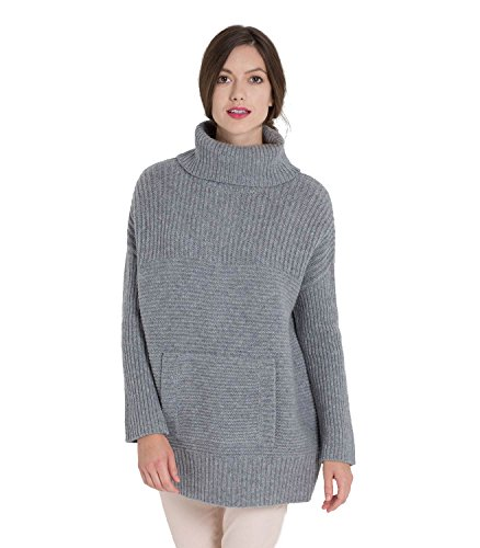Womens Lambswool Chunky Roll Neck Jumper Flannel Grey, L