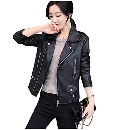 CuteRose Womens Plus Size Biker Motorcycle Zip Outwear PU Leather Jackets Black S (Womens Trench Leather Coat Black)