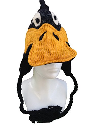 hand-knitted-novelty-character-hat-with-tassels-100-wool-fair-trade-loads-of-designs-one-size-daffy-