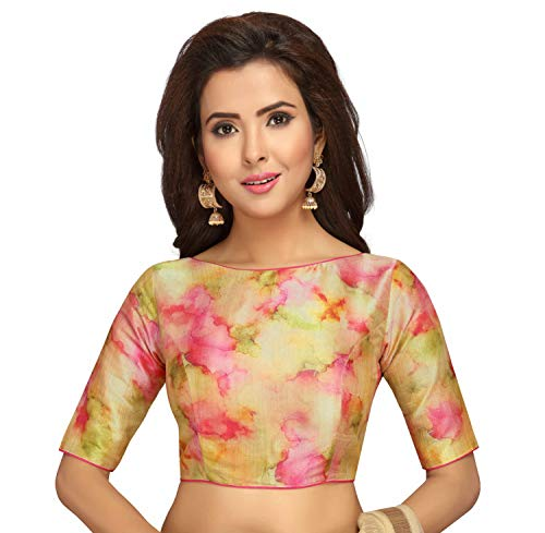 STUDIO Shringaar Multi Colour Tie Dye Readymade Saree Blouse With Boat Neck And Elbow Length Sleeves(Pink, 40)
