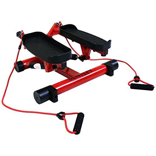 Bentley Sport - Kleiner Hydraulischer Twist-Stepper mit Trainingsbändern - Rot (auch in Schwarz erhältlich)