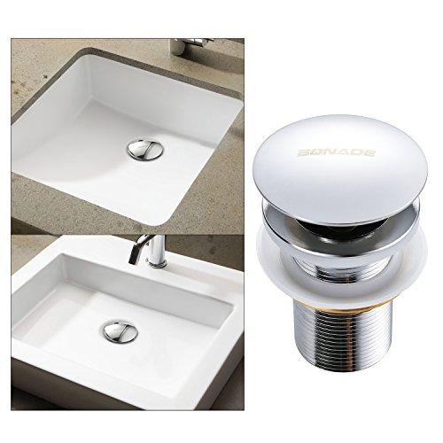 BONADE Universal Ablaufgarnitur ohne Überlauf POP UP Ventil für Waschtisch/Waschbecken Chrom Ablaufventil, Abflussgarnitur aus Messing, 1-1/4'