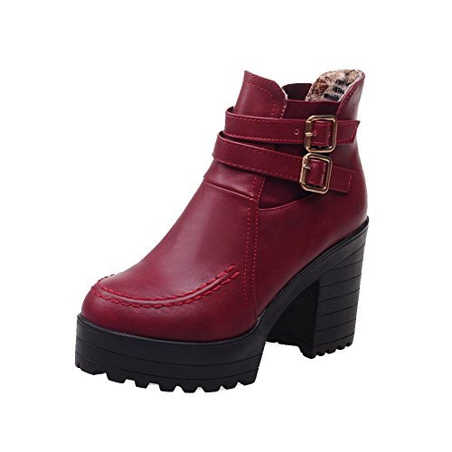 voguezone009-womens-closed-round-toe-high-heels-soft-material-low-top-solid-boots-red-36