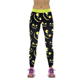 NADANBAO Nouveau Femmes Gros Leggings Collants sportifs Halloween Lighting Jack-O'-Lantern Leggins Imprimé Mujer WKYK1008 XL Remise en Forme